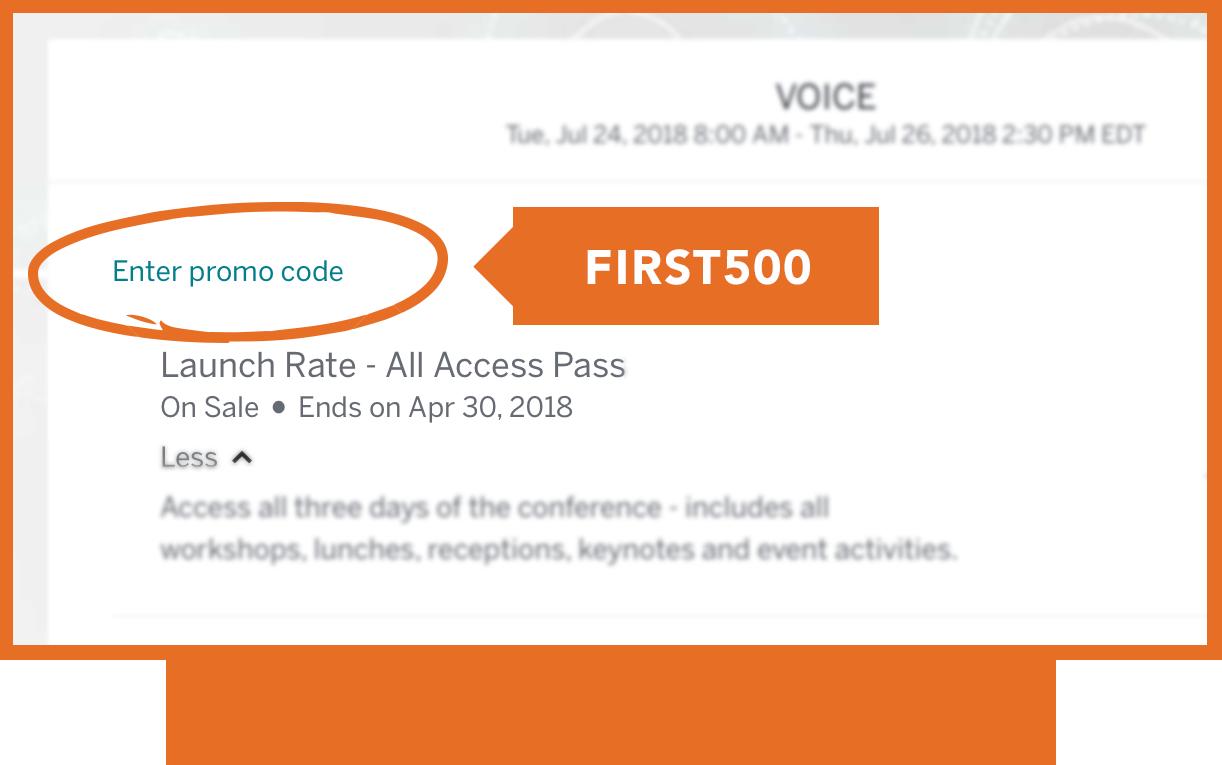 Enter code FIRST500 below