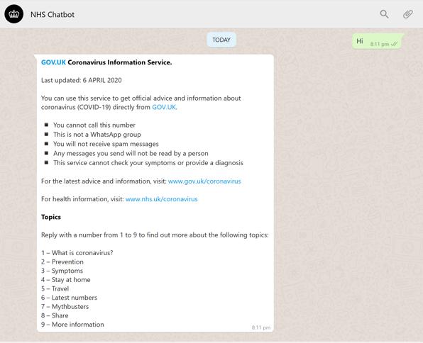 Snapchot of NHS bot menu options in Whatsapp