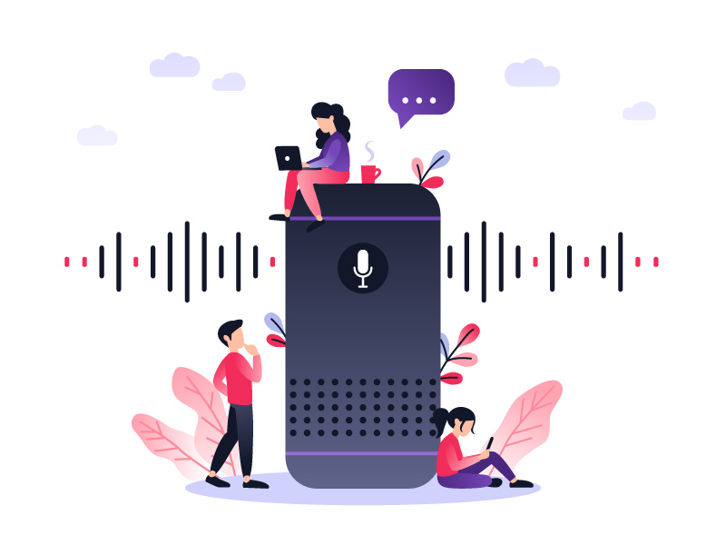 Illustration of three people sitting around a giant voice assistant.
