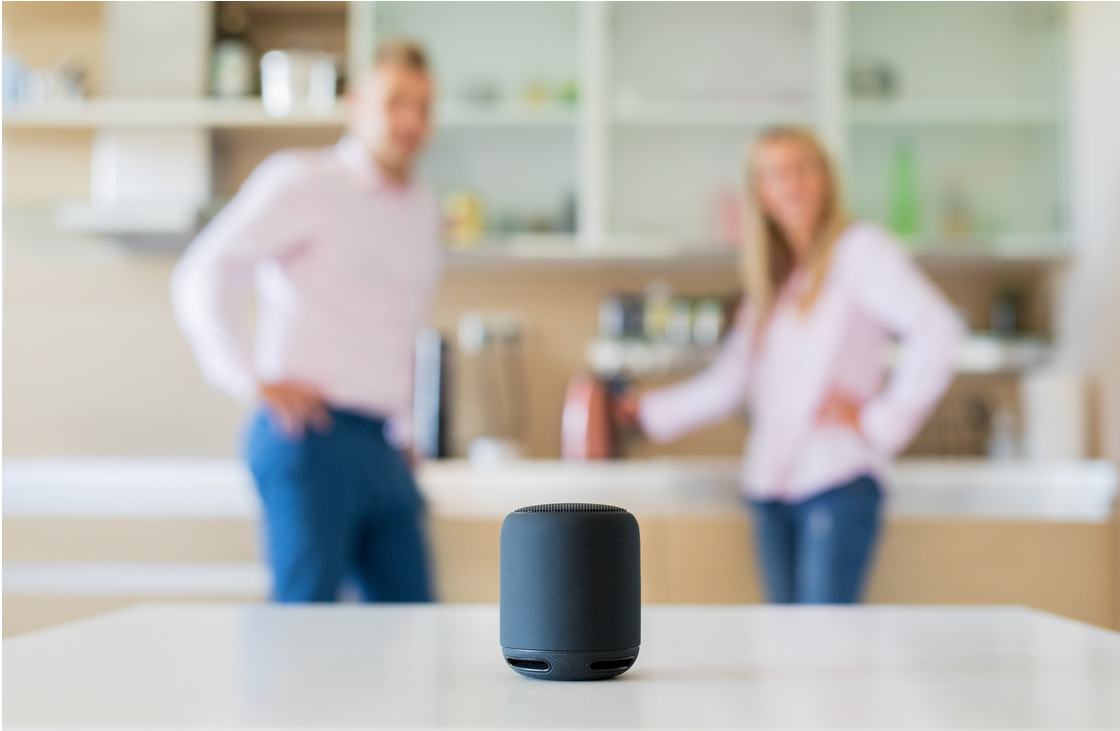 Voice device on the kitchen counter with a couple standing behind it.